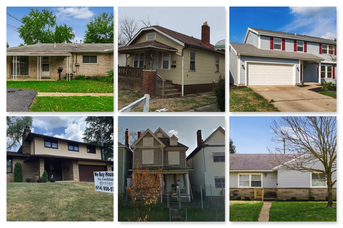 Six frames of different middle-income houses.
