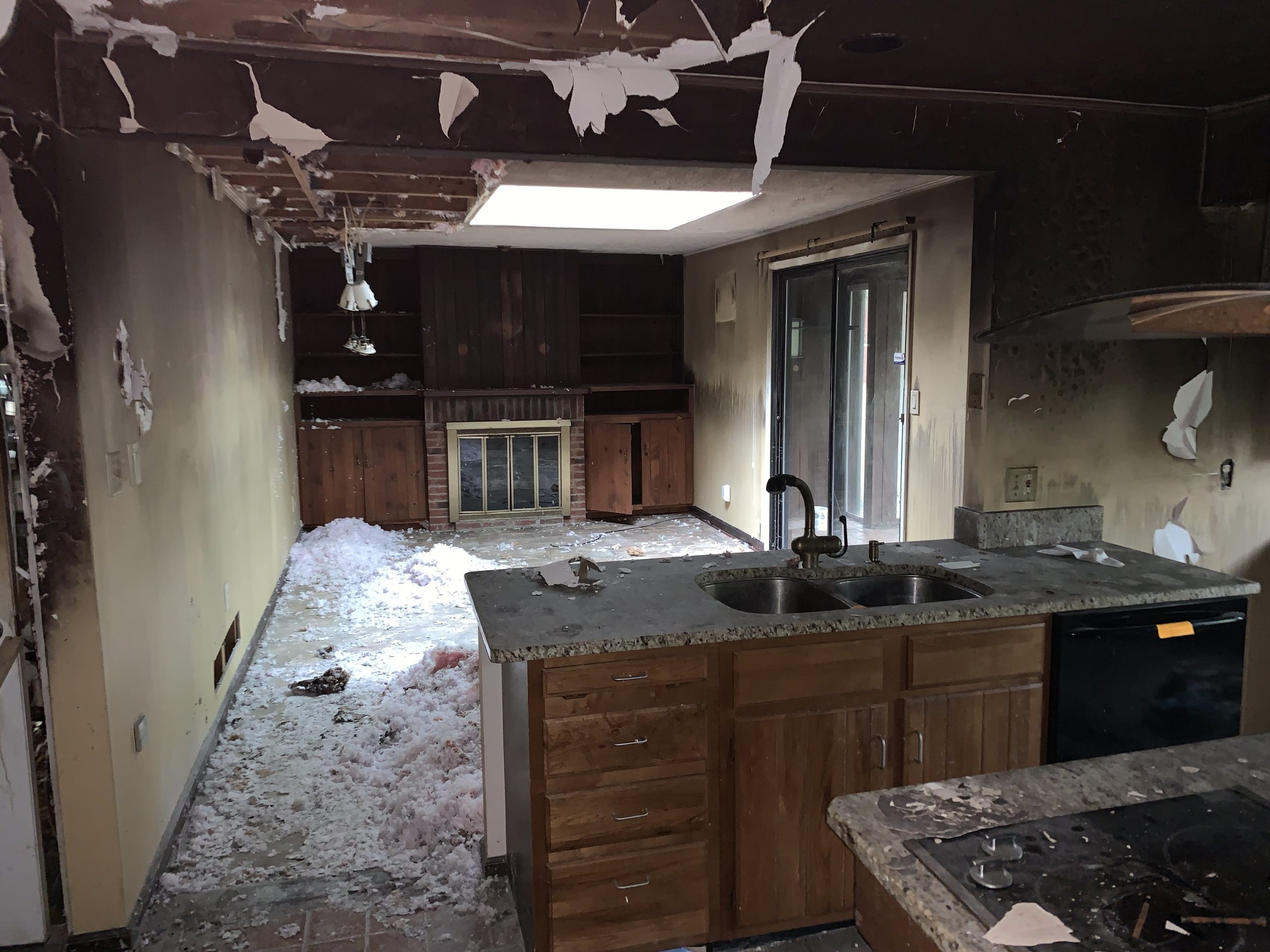 A torn up family room ready for an extreme home renovation project.