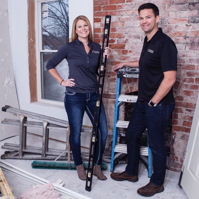 Tim and Katie Dye of Upward Home Solutions with their home renovation tools.