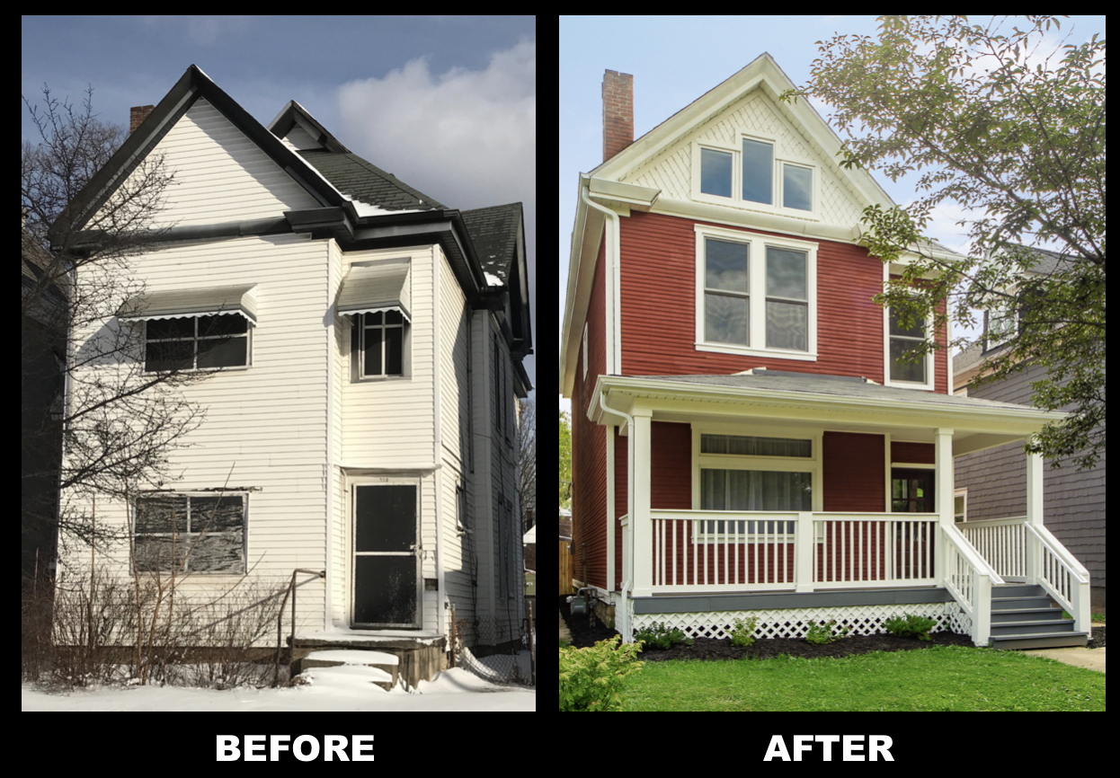 """""""Before"""" and """"After"""" photos of a house-flip project. UHS bought the ugly white home on the left for cash and renovated it into the red paneled beauty on the right."""