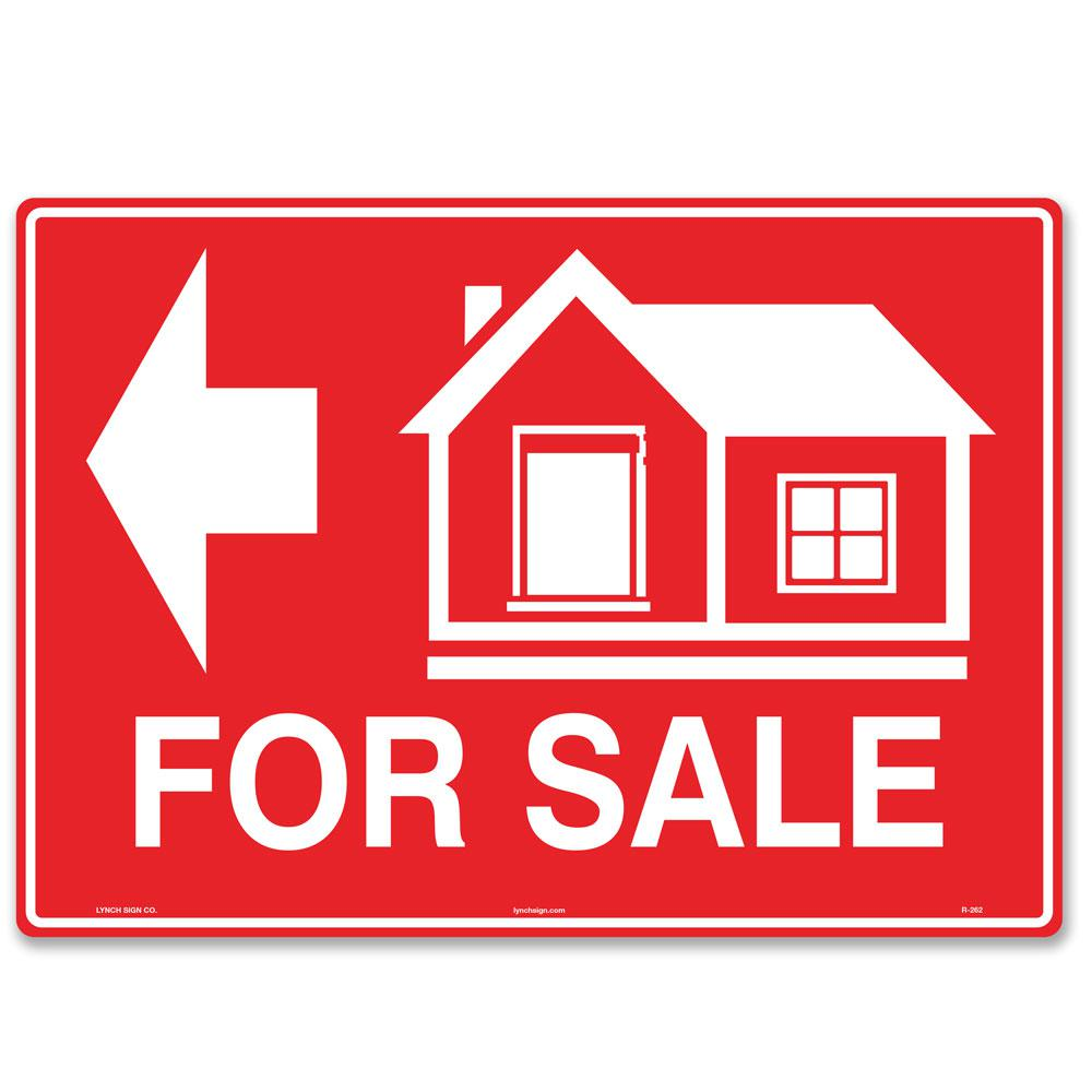"""A red """"For Sale"""" sign."""