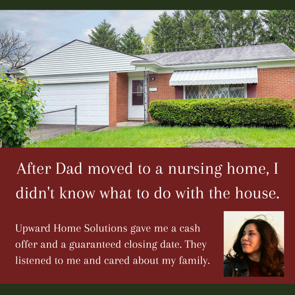 A picture of a home above a seller quote about selling her dad's house.