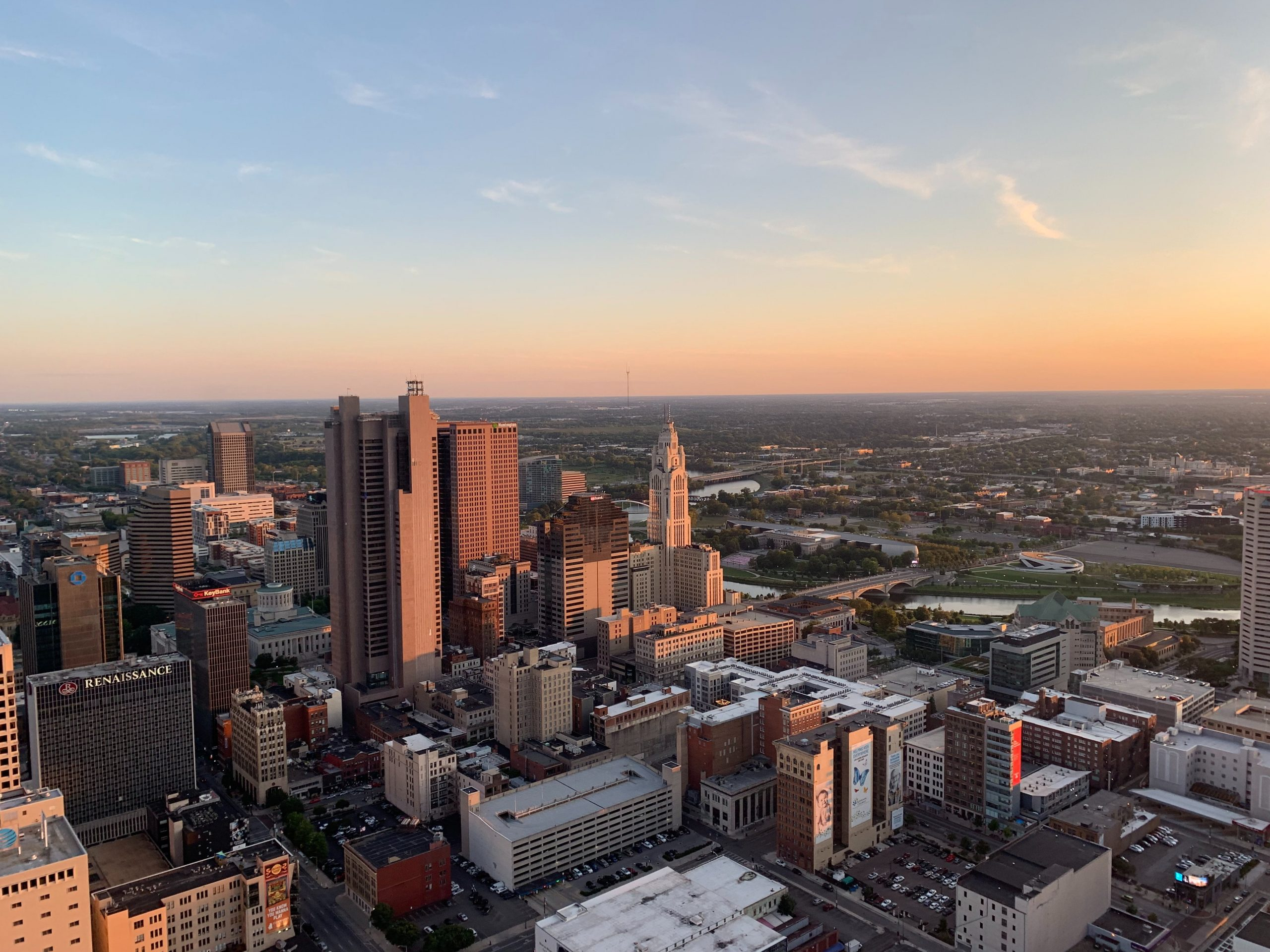 Skyline view of Downtown Columbus in the early evening.