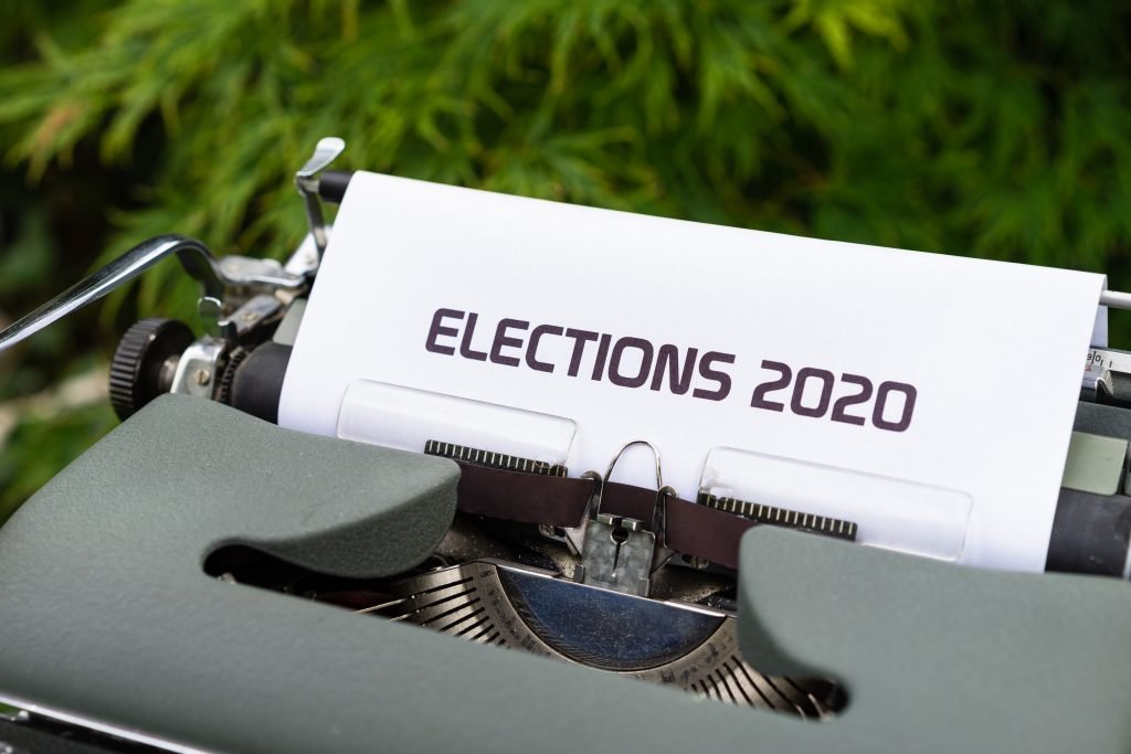 """Typewriter page that says """"Elections 2020."""""""