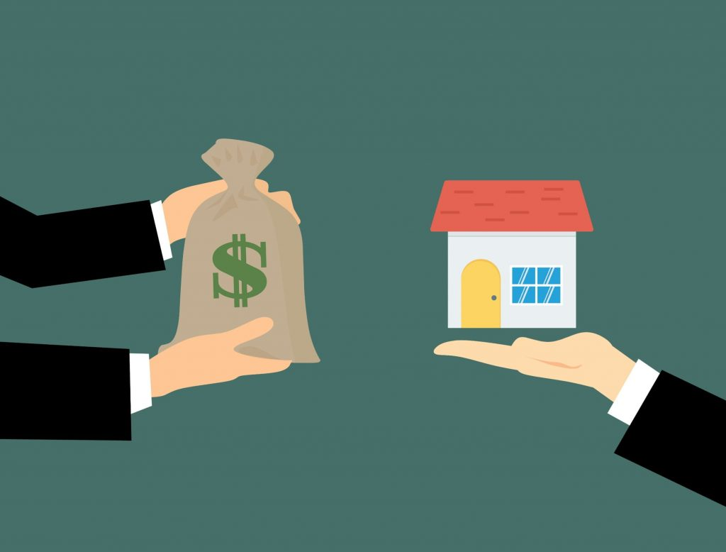 A graphic image demonstrating home building cost through a bag of cash being traded for the cost of a new home.